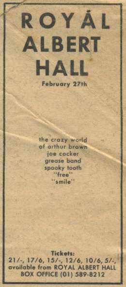 Flyer/ad - Smile in London on 27.02.1969