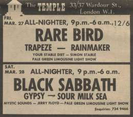 Flyer/ad - Sour Milk Sea in London on 28.03.1970
