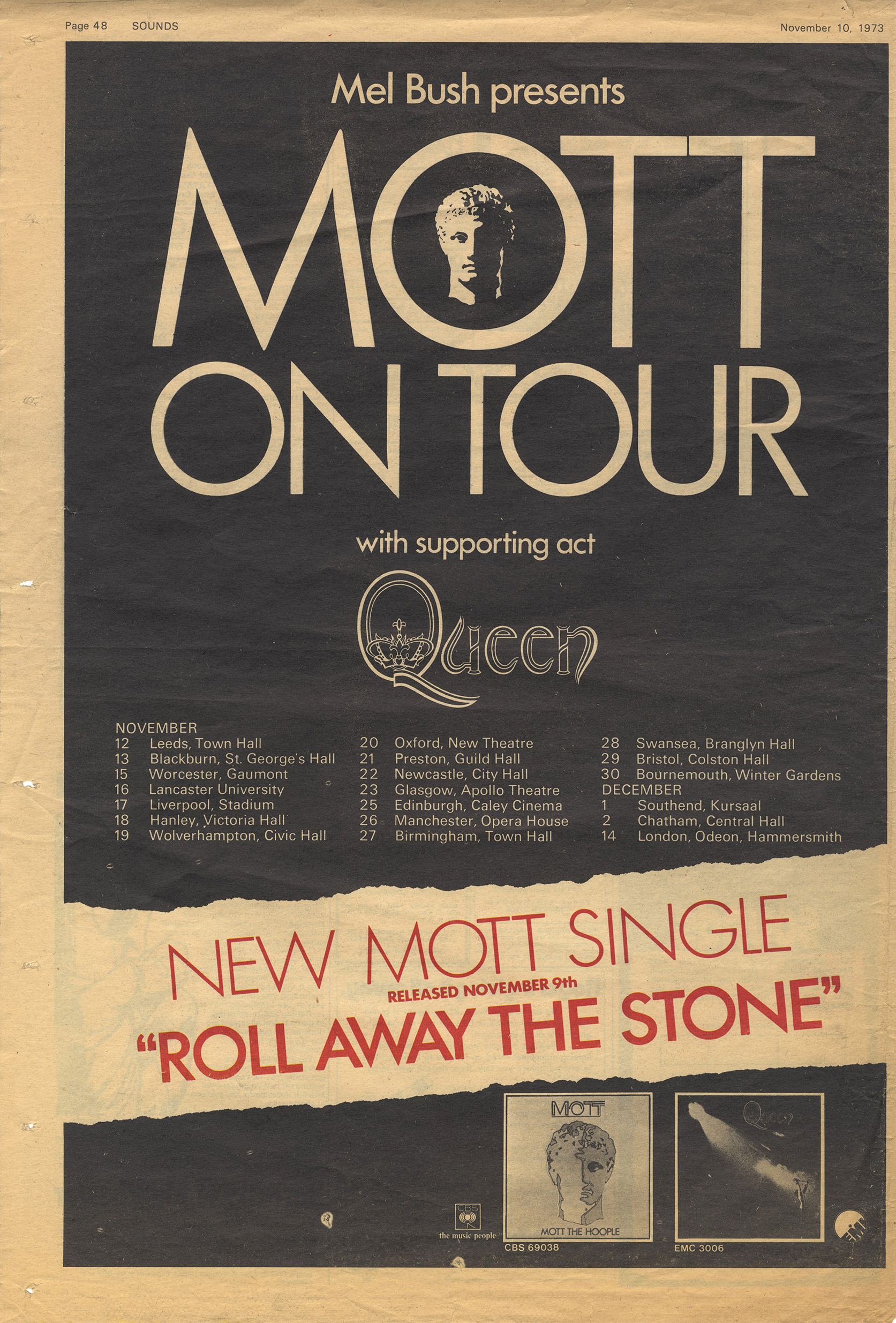 Queen - first proper tour in November 1973