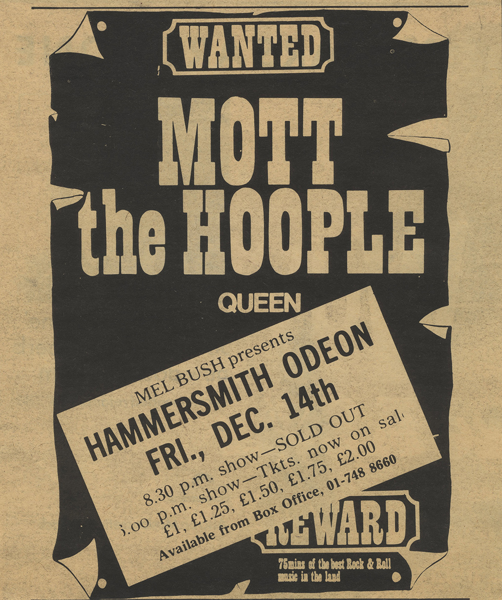 Mott/Queen in London on 14.12.1973