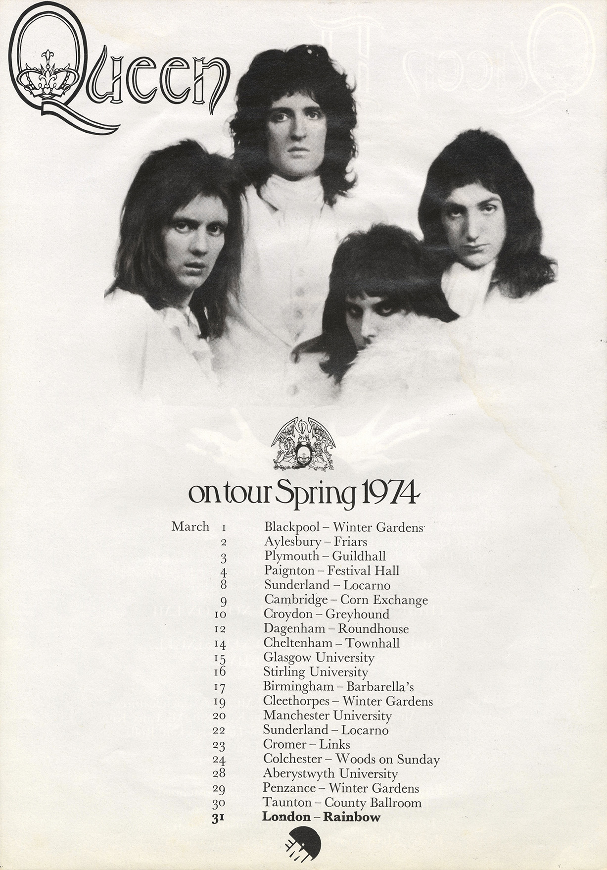 Queen on Queen II tour in the UK