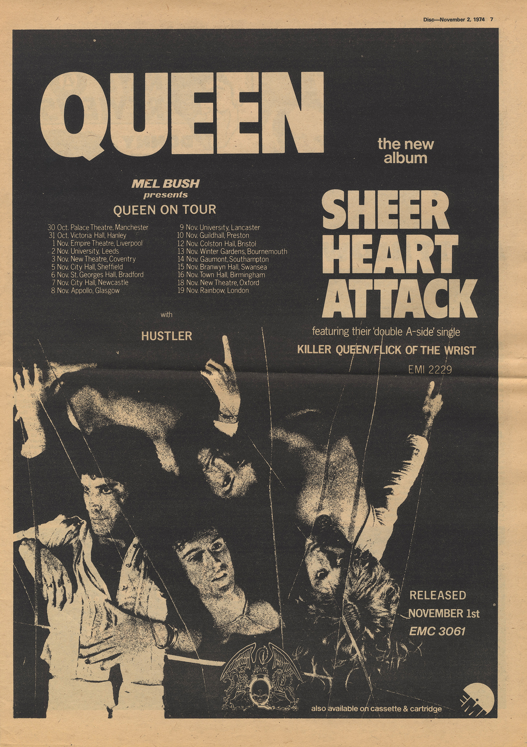 Sheer Heart Attack tour in the UK - November 1974