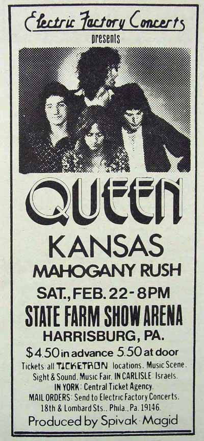 Queen in Harrisburg on 22.2.1975