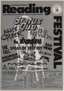 Flyer/ad - Bad News in Reading on 29.8.1987 (with Brian)