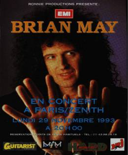 Flyer/ad - Brian May in Paris on 29.11.1993