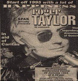 Flyer/ad - Roger Taylor in Valetta on 24.1.1995