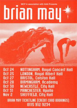Flyer/ad - Brian May in the UK in 1998