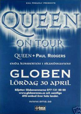 Flyer/ad - Queen + Paul Rodgers in Stockholm on 30.4.2005