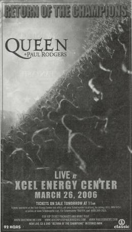 Flyer/ad - Queen + Paul Rodgers in St. Paul on 26.3.2006