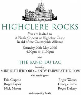 Flyer/ad - Roger Taylor with Band Du Lac at Highclere Castle on 20.5.2006