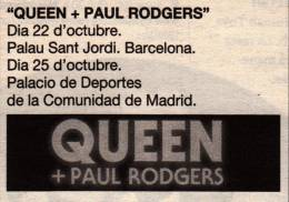 Flyer/ad - Queen + Paul Rodgers in Barcelona on 22.10.2008