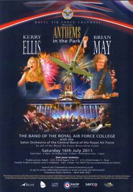 Flyer/ad - Brian May with Kerry Ellis at RAF Cranwell on 16.07.2011