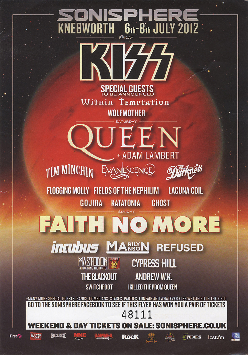 Queen with Adam Lambert - cancelled Sonisphere festival on 07.07.2012
