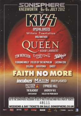 Flyer/ad - Queen with Adam Lambert - cancelled Sonisphere festival on 07.07.2012