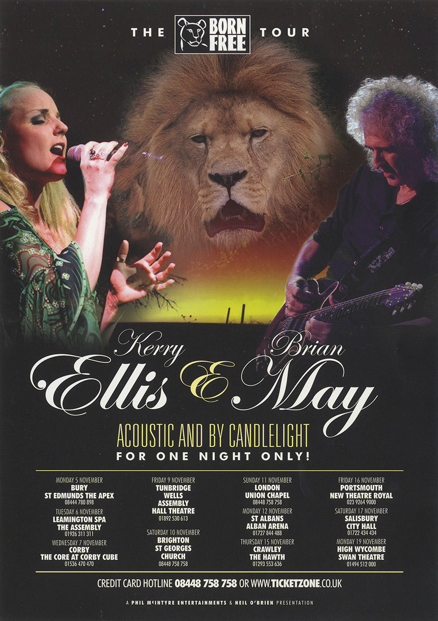 Brian May with Kerry Ellis on the Born Free UK tour in November 2012