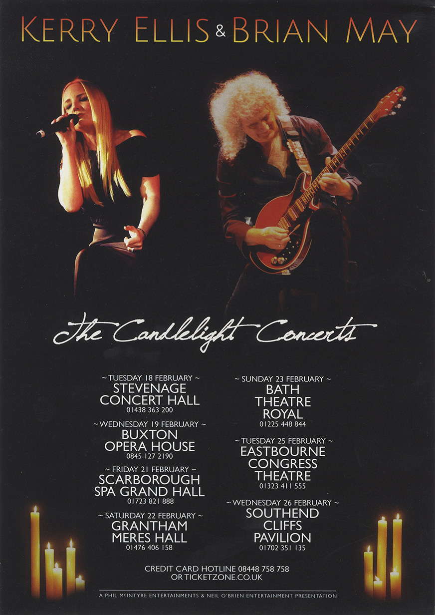 Brian May with Kerry Ellis on the Candlelight Concerts UK tour in February 2014
