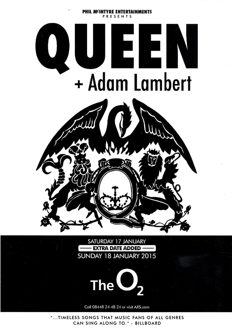 Queen + Adam Lambert in London on 18.01.2015