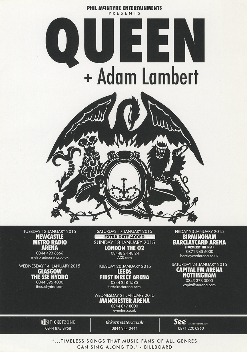 Queen + Adam Lambert in the UK in 2015