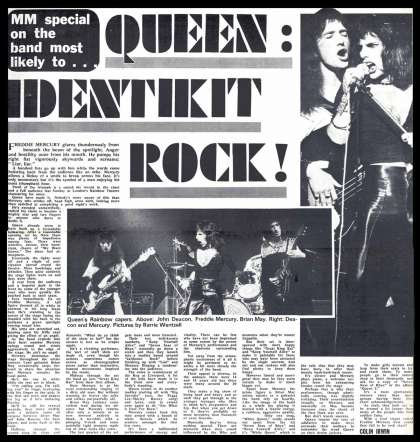 Newspaper review: Queen live at the Rainbow Theatre, London, UK [31.03.1974]