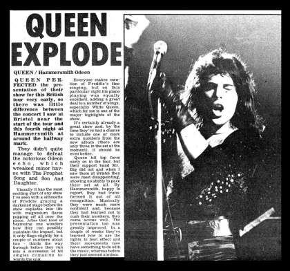 Newspaper review: Queen live at the Hammersmith Odeon, London, UK [02.12.1975]