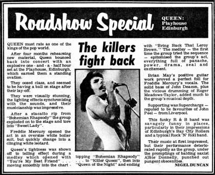 Newspaper review: Queen live at the Playhouse Theatre, Edinburgh, UK [01.09.1976]