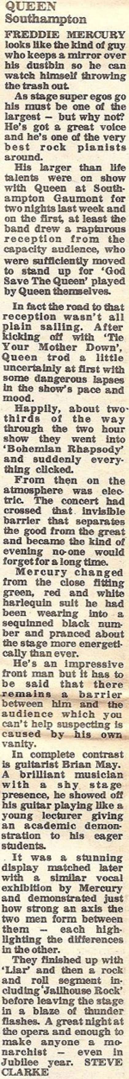 Newspaper review: Queen live at the Gaumont, Southampton, UK [26.05.1977]