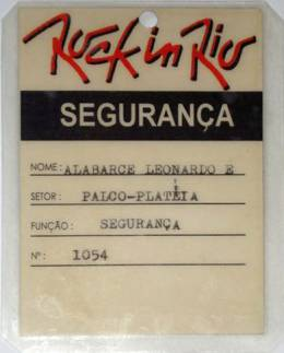 Rock In Rio - January 1985 security pass