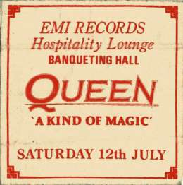 EMI afterparty pass for the Wembley 12.07.1986 concert