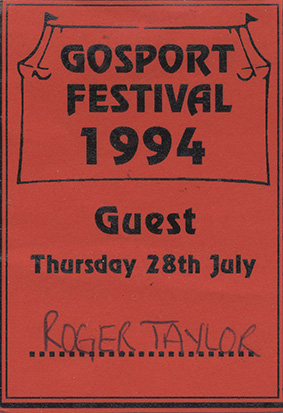 Guest pass for Roger's concert in Gosport 1994
