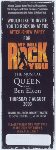 We Will Rock You afterparty (Melbourne)