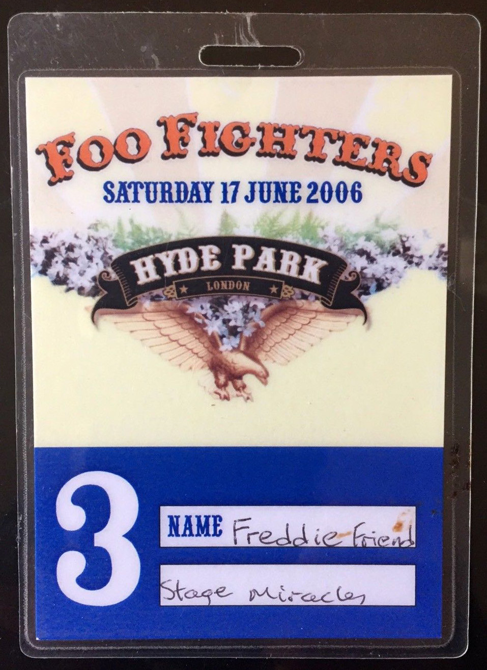 Foo Fighters backstage pass