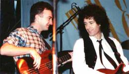 Concert photo: The Cross + Brian May + John Deacon live at the Le Palais, London, UK (Fan club Xmas party with Brian and John) [04.12.1988]