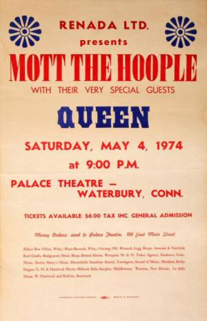 Poster - Queen in Waterbury on 04.05.1974