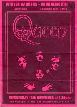 Poster - Queen in Bournemouth on 13.11.1974
