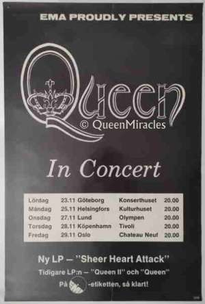 Poster - Queen in Scandinavia in November 1974