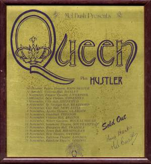 Poster - Queen in UK 1974 - commemorative plaque given to Hustler