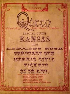 Poster - Queen in South Bend on 09.02.1975