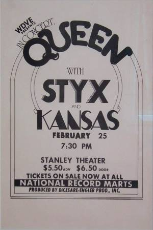 Poster - Queen in Pittsburgh on 25.02.1975 [cancelled]