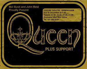 Poster - Queen in Birmingham on 09.12.1975