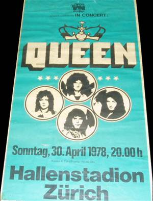 Poster - Queen in Zürich on 30.04.1978