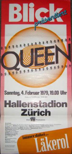 Poster - Queen in Zürich on 04.02.1979