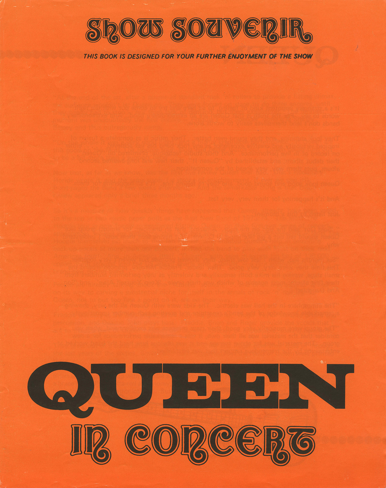 Early Queen show souvenir - orange (UK)