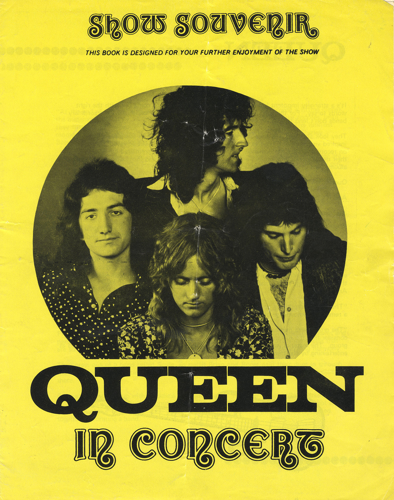 Early Queen show souvenir - yellow without photo (UK)
