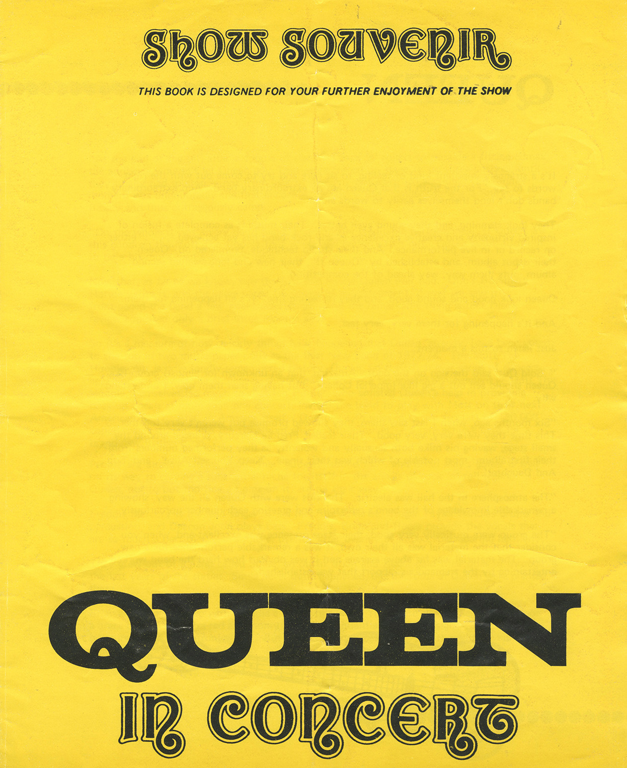 Early Queen show souvenir - yellow (UK)