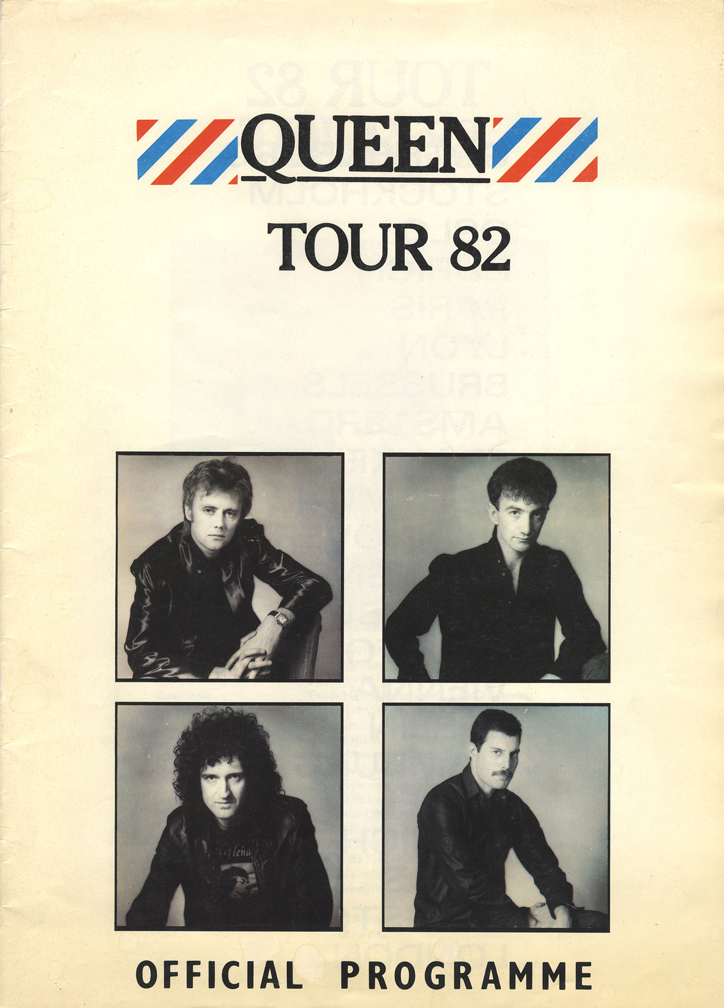 Hot Space tour program (Europe) - with cities listed on page 2 and band photo on page 3