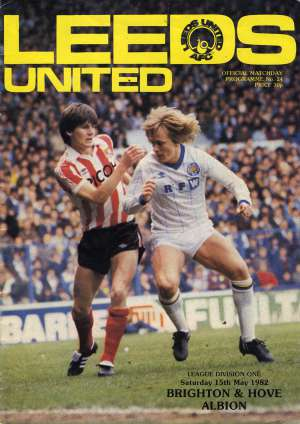 Football programme advertising the Leeds concert in 1982