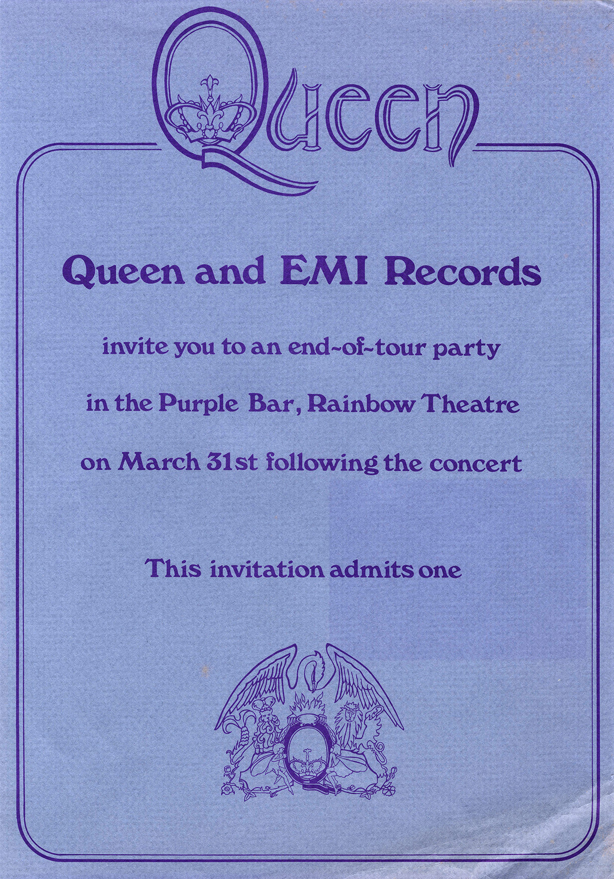 Invite to the Queen II end-of-tour afterparty (London, UK)