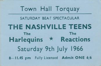 Ticket stub - The Reaction live at the Town Hall, Torquay, UK [09.07.1966]
