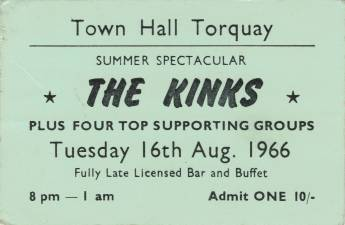Ticket stub - The Reaction live at the Town Hall, Torquay, UK [16.08.1966]