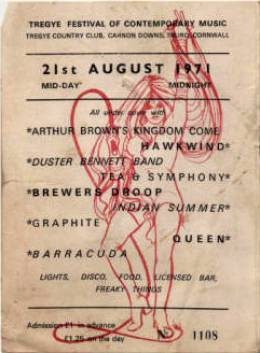 Ticket stub - Queen live at the Tregye Country Club, Carnon Downs Festival, Truro, UK [21.08.1971]